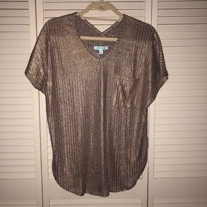 Rose Gold Blouse/ Ribbed Tee